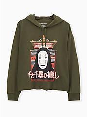 Her Universe Studio Ghibli Spirited Away No-Face Olive Green Crop Hoodie, DEEP DEPTHS, hi-res