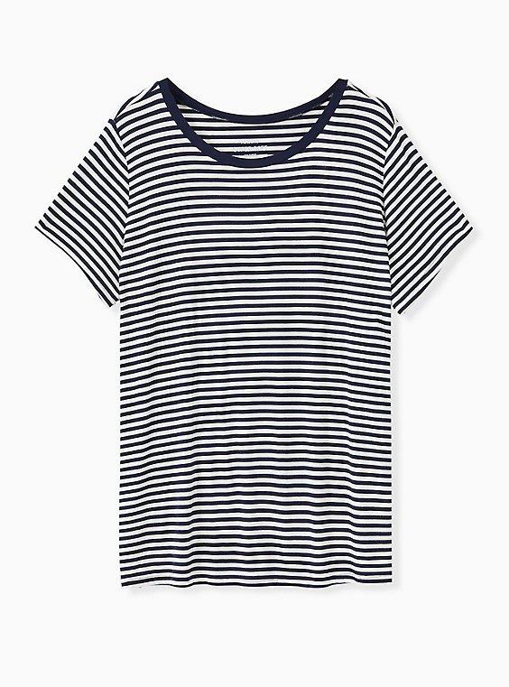 Slim Fit Crew Tee - Super Soft Stripe Navy & White, STRIPE-NAVY, ls