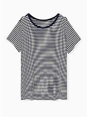 Slim Fit Crew Tee - Super Soft Stripe Navy & White, STRIPE-NAVY, hi-res