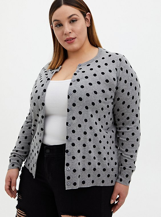 Plus Size Heather Grey & Black Polka Dot Cotton Button Front Cardigan, , hi-res