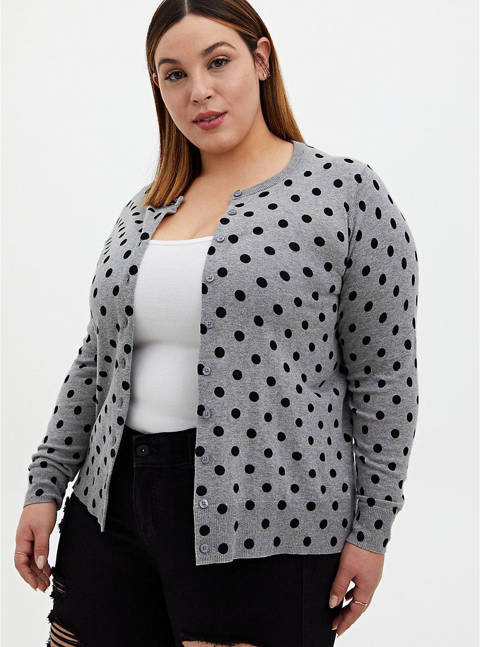 Heather Grey & Black Polka Dot Cotton Button Front Cardigan, DOTS - GREY, hi-res