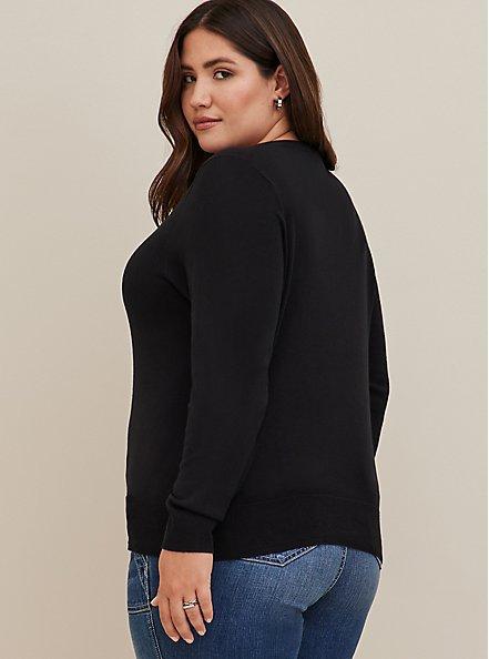 Black Cotton Button Front Cardigan, DEEP BLACK, alternate