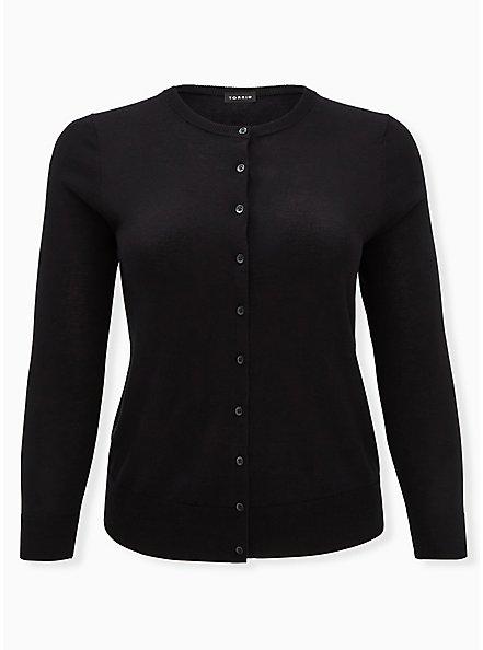 Black Cotton Button Front Cardigan, DEEP BLACK, hi-res