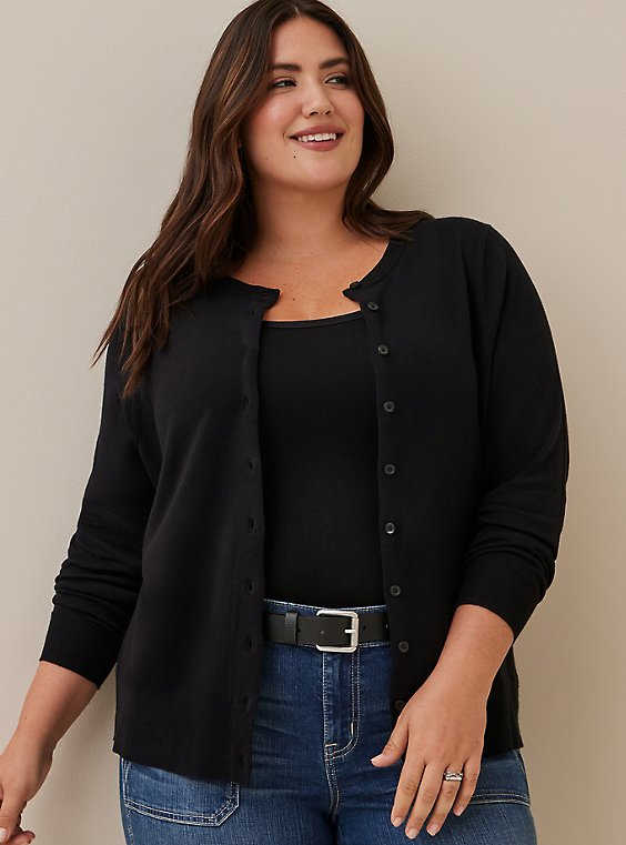 Black Cotton Button Front Cardigan, DEEP BLACK, hi-res