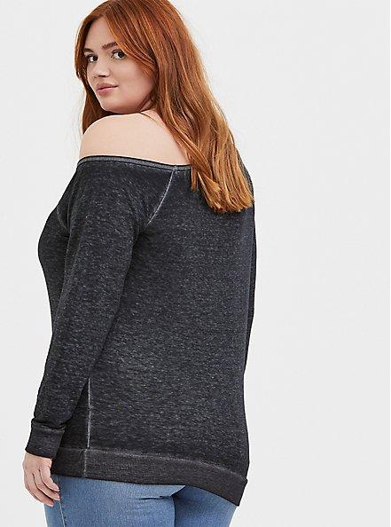Plus Size Black Burnout Bull Skull & Moon Off Shoulder Sweatshirt, DEEP BLACK, alternate