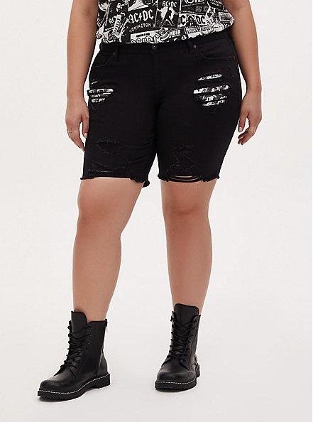 AC/DC Boyfriend Bermuda Short - Vintage Stretch Black, DEEP BLACK, hi-res