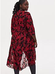 AC/DC Black & Red Floral Chiffon Hi-Lo Kimono, MULTI FORAL, alternate