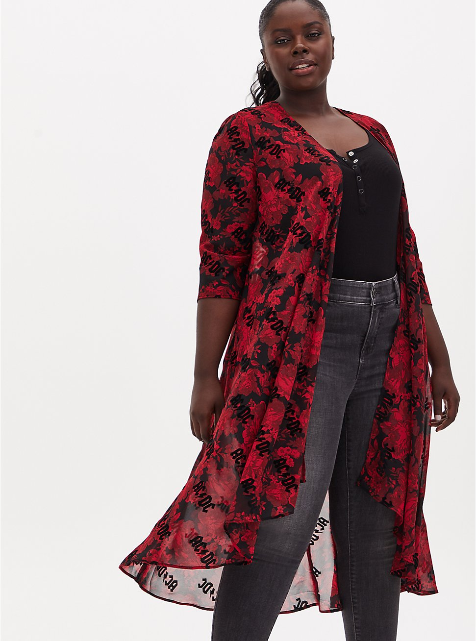 AC/DC Black & Red Floral Chiffon Hi-Lo Kimono, MULTI FORAL, hi-res