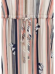 Disney Minnie Mouse Stripe Challis Zip Front Drawstring Shirt Dress, MULTI STRIPE, alternate
