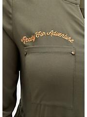 Disney Aladdin Abu Olive Challis Zip Front Drawstring Shirt Dress, DEEP DEPTHS, alternate