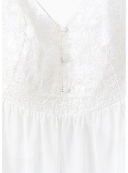 White Chiffon Embroidered Button Front Peplum Top, CLOUD DANCER, alternate