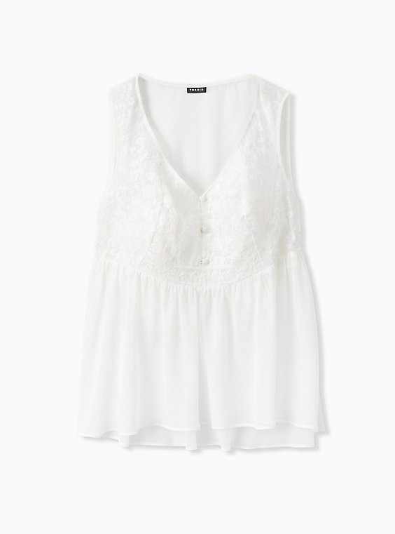White Chiffon Embroidered Button Front Peplum Top, , hi-res