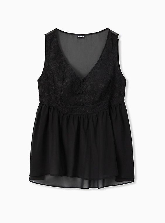 Black Chiffon Embroidered Button Down Babydoll Tank, DEEP BLACK, hi-res