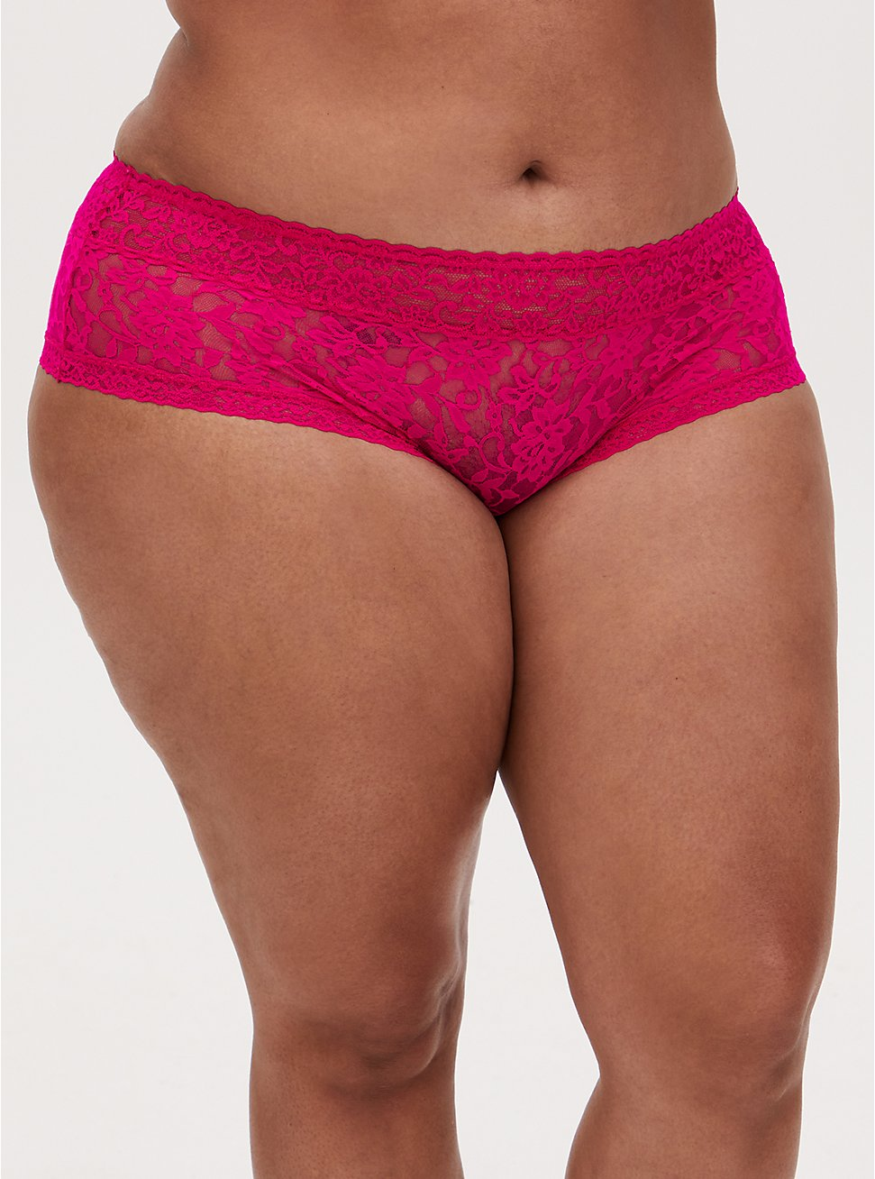 Neon Pink Lacey Cheeky Panty, PINK GLO, hi-res