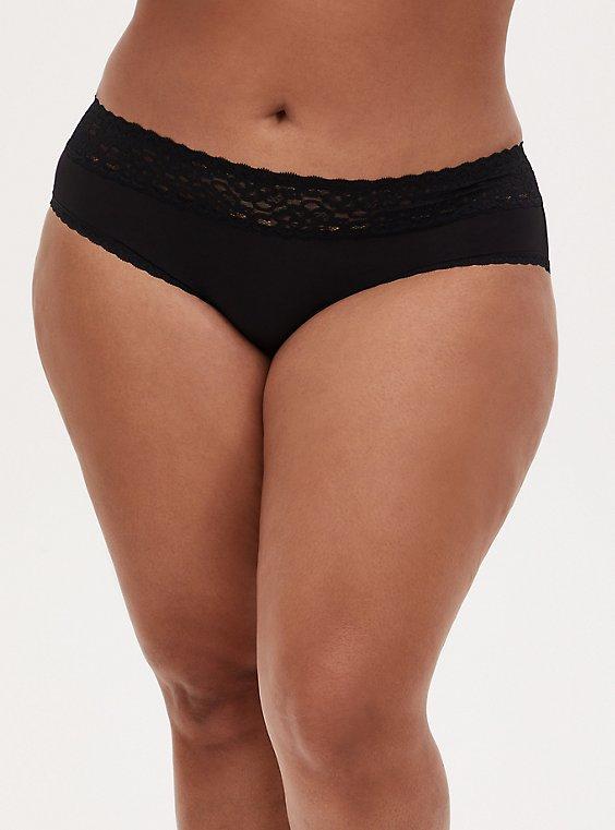 Black Wide Lace Shine Hipster Panty , RICH BLACK, hi-res