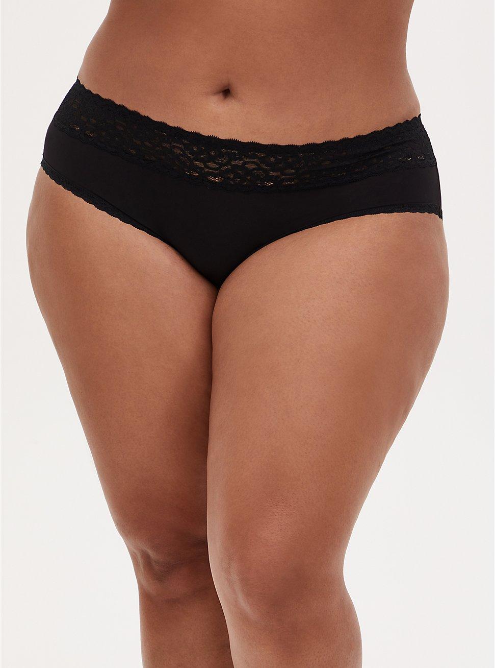Plus Size Black Wide Lace Shine Hipster Panty , RICH BLACK, hi-res