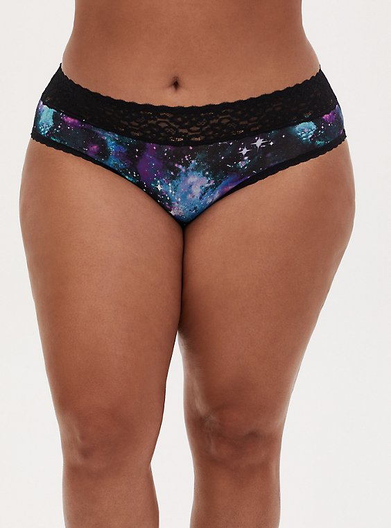 Blue Galaxy & Black Wide Lace Shine Hipster Panty, , hi-res
