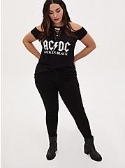 AC/DC Cold Shoulder Lace-Up Tee - Black, DEEP BLACK, alternate