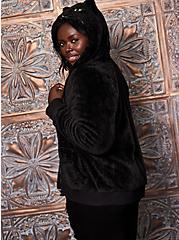 Fuzzy Black Cat Face Zip Hoodie, DEEP BLACK, alternate