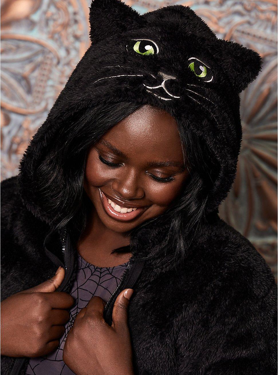 Fuzzy Black Cat Face Zip Hoodie, DEEP BLACK, hi-res