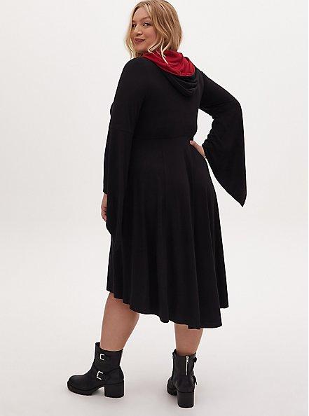 Plus Size Harry Potter Gryffindor Crest Black Hi-Lo Hooded Dress, DEEP BLACK, alternate