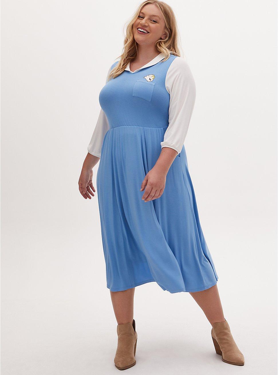 Disney Beauty and the Beast Belle Blue Midi Dress, BLUE  WHITE, hi-res