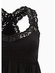 Black Jersey Lace Trim Sleep Chemise, DEEP BLACK, alternate