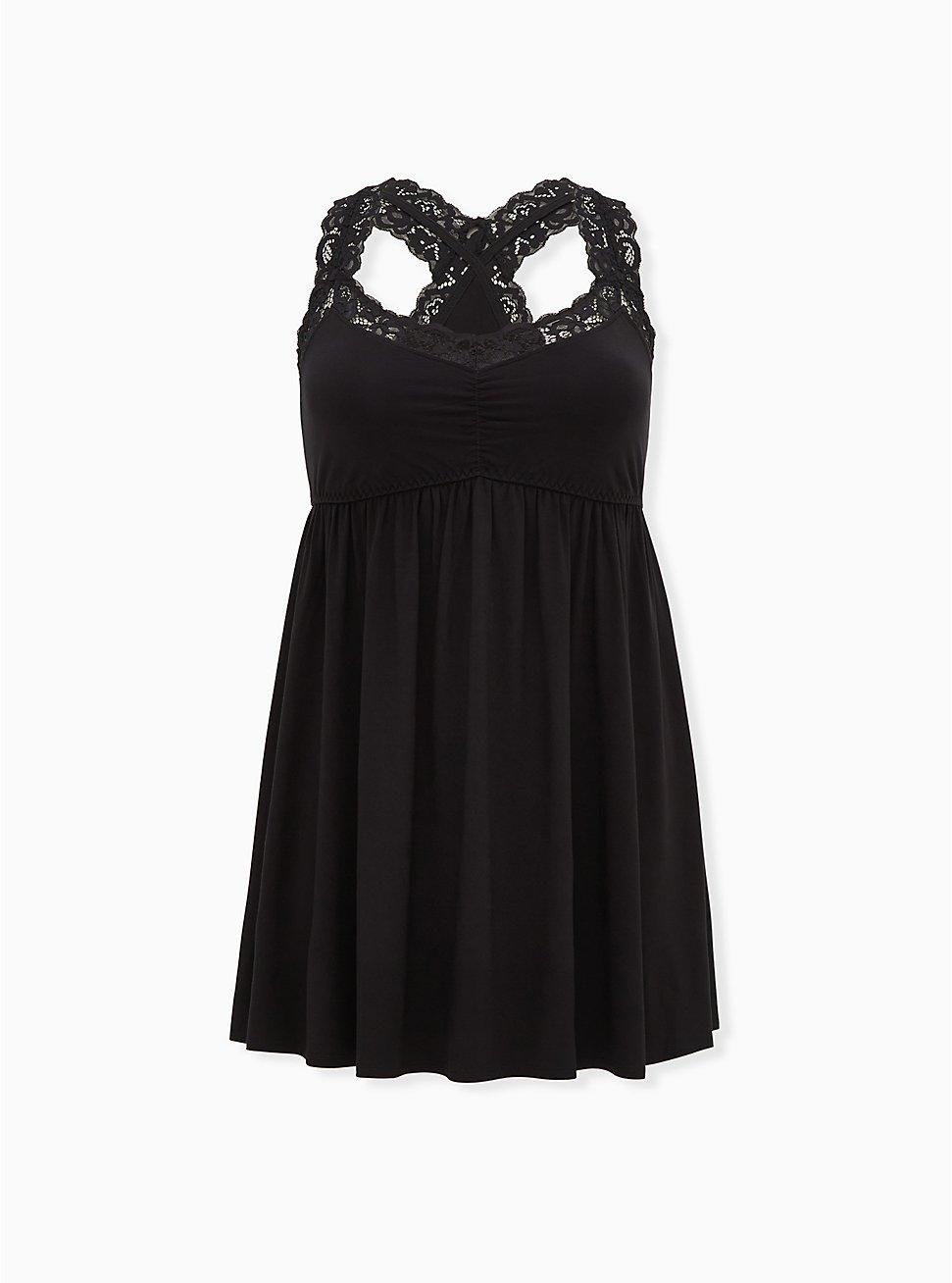 Black Jersey Lace Trim Sleep Chemise, DEEP BLACK, hi-res