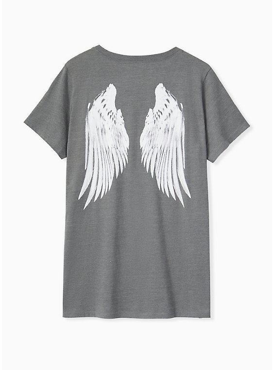 Plus Size Heather Grey Wings Crew Tee, , hi-res