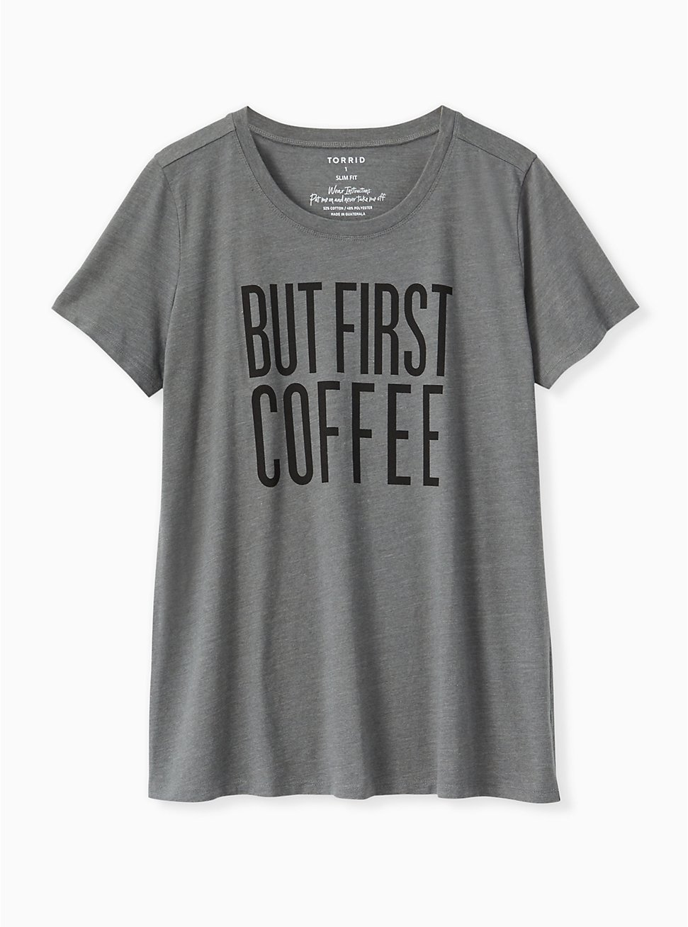 But First Coffee Heather Grey Tee , MEDIUM HEATHER GREY, hi-res