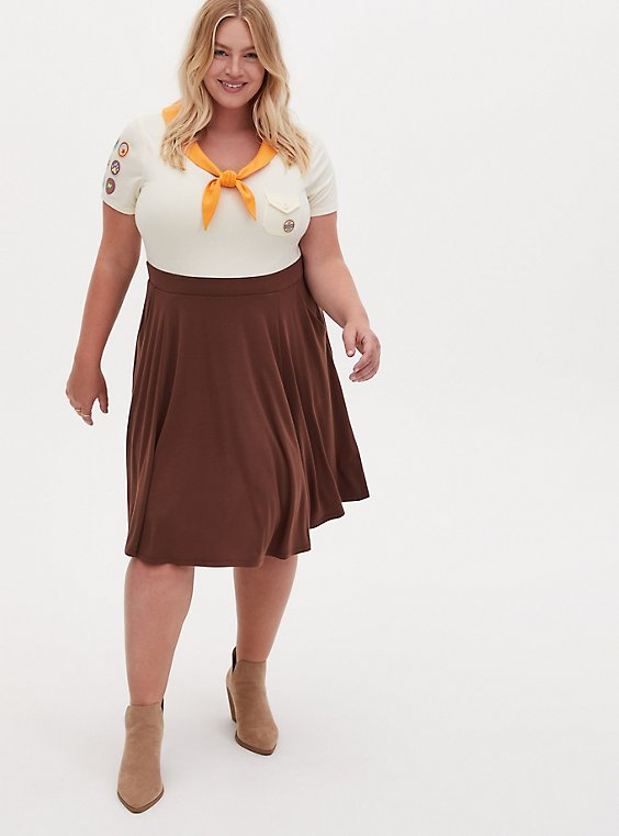 Disney Pixar Up Russel Wilderness Explorer Brown Skater Dress , , hi-res