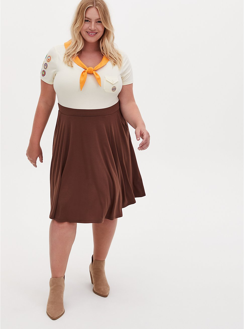 Disney Pixar Up Russel Wilderness Explorer Brown Skater Dress , BROWN  LIGHT BROWN, hi-res