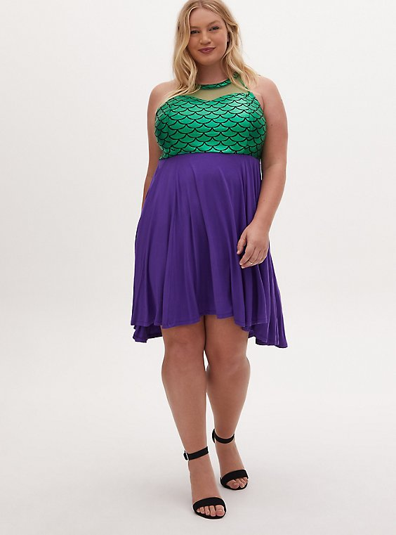 Disney The Little Mermaid Green & Purple Hi-Lo Skater Dress, MULTI, hi-res