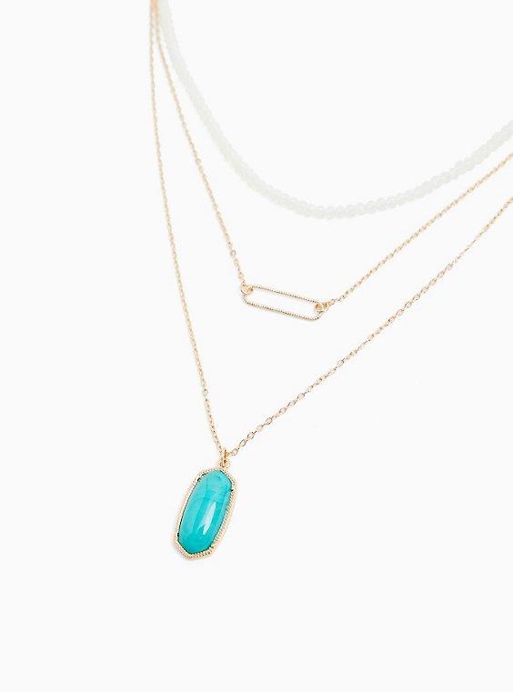 Plus Size Gold-Tone & Turquoise Pendant Layered Necklace, , hi-res