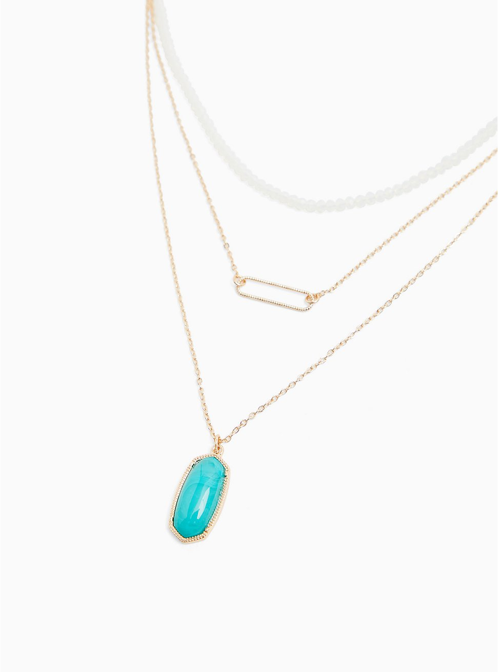 Gold-Tone & Turquoise Pendant Layered Necklace, , hi-res