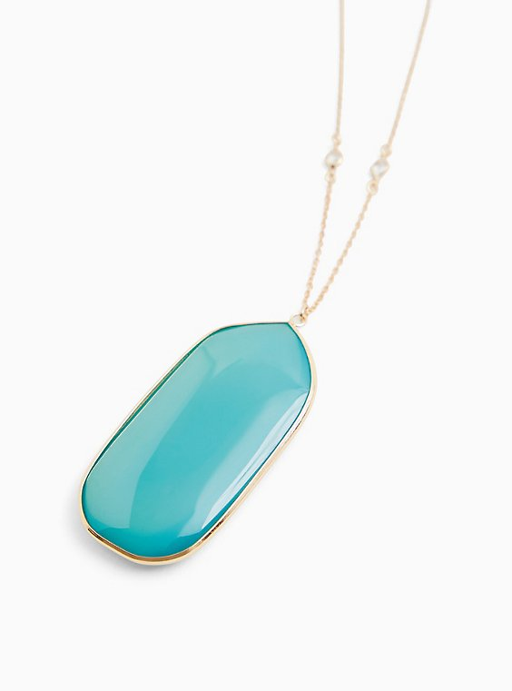 Turquoise Pendant Bezel Chain Necklace, , hi-res