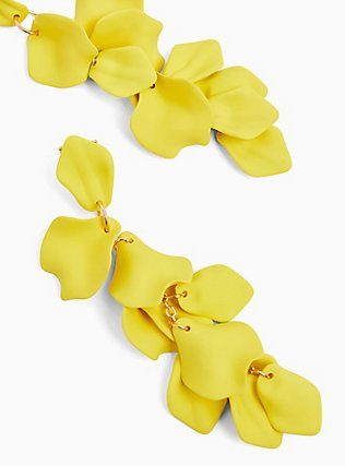 Lemon Yellow Pedal Drop Earrings, , alternate