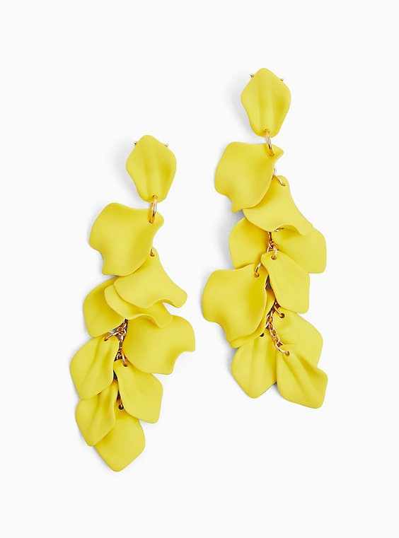 Lemon Yellow Petal Drop Earrings, , hi-res