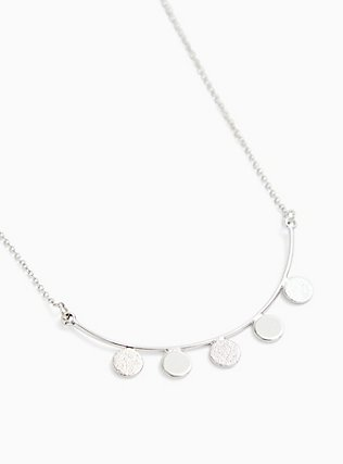 Plus Size Silver-Tone Curved Bar Disk Necklace, , alternate