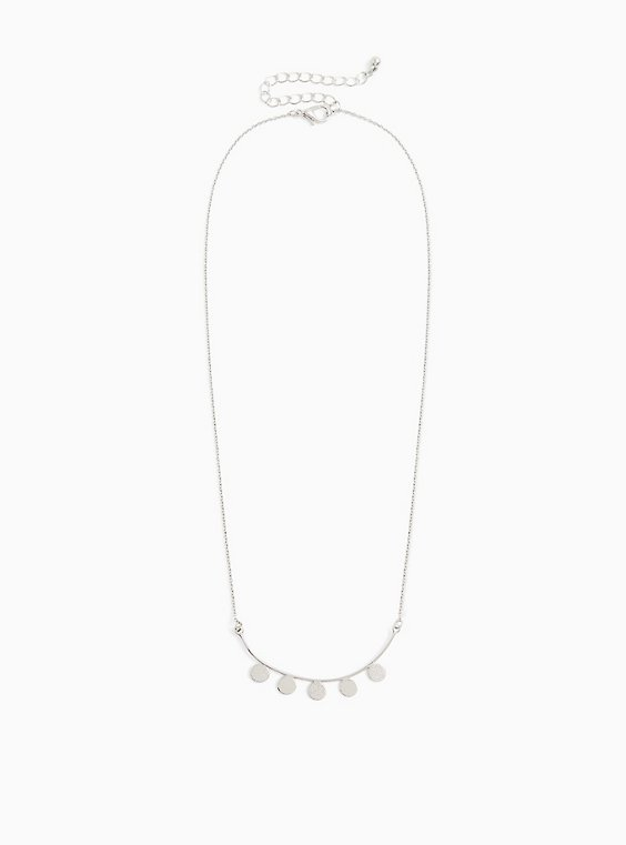 Silver-Tone Curved Bar Disk Necklace, , hi-res