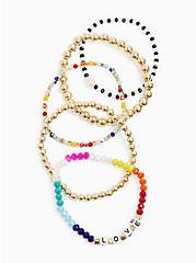 Love Multi Bead Stretch Bracelet Set - Set of 5, MULTI, alternate
