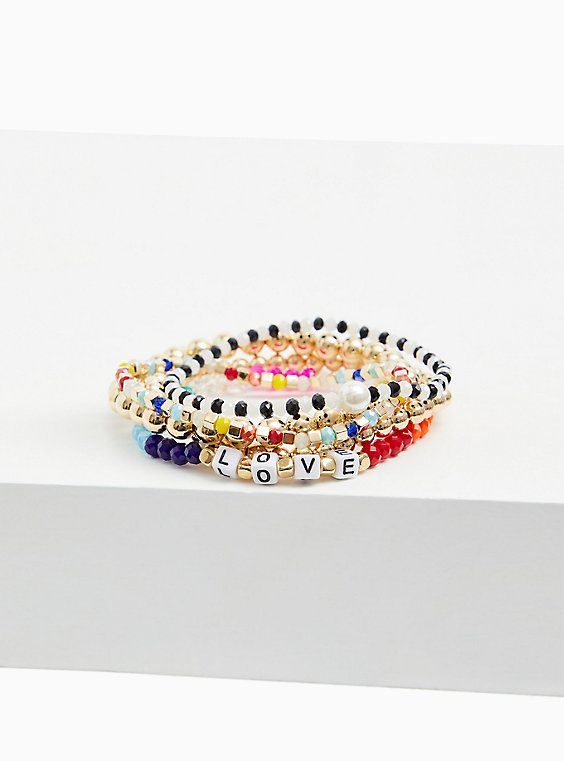 Plus Size Love Multi Bead Stretch Bracelet Set - Set of 5, , hi-res
