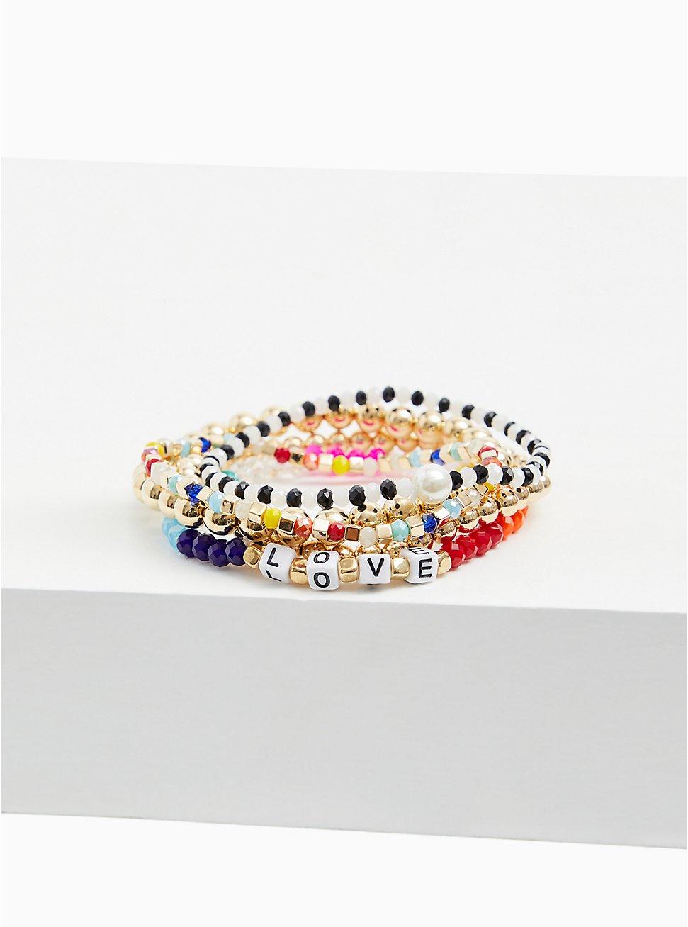 Love Multi Bead Stretch Bracelet Set - Set of 5, MULTI, hi-res