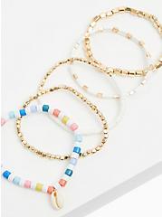 Gold-Tone & White Beaded Stretch Bracelet Set - Set of 5, MULTI, alternate