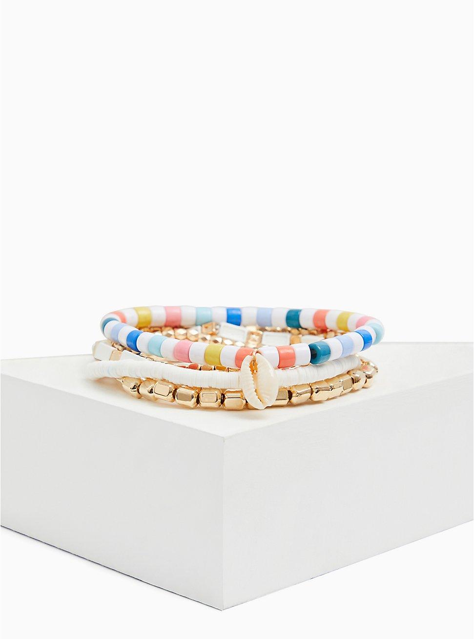 Gold-Tone & White Beaded Stretch Bracelet Set - Set of 5, MULTI, hi-res