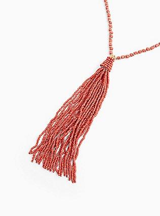 Coral Tassel Pendant Necklace , , alternate