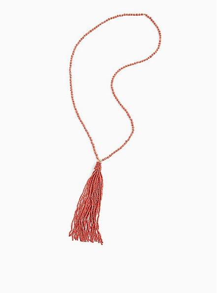 Plus Size Deep Coral Tassel Pendant Necklace , , hi-res