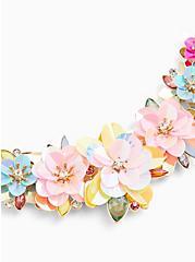 Multi Iridescent Floral Statement Necklace , , alternate