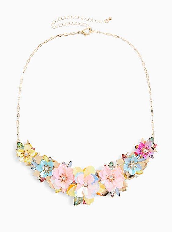 Plus Size Multi Iridescent Floral Statement Necklace , , hi-res