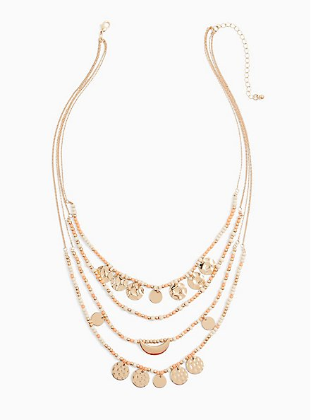 Coral Bead & Gold-Tone Coin Layered Necklace, , alternate